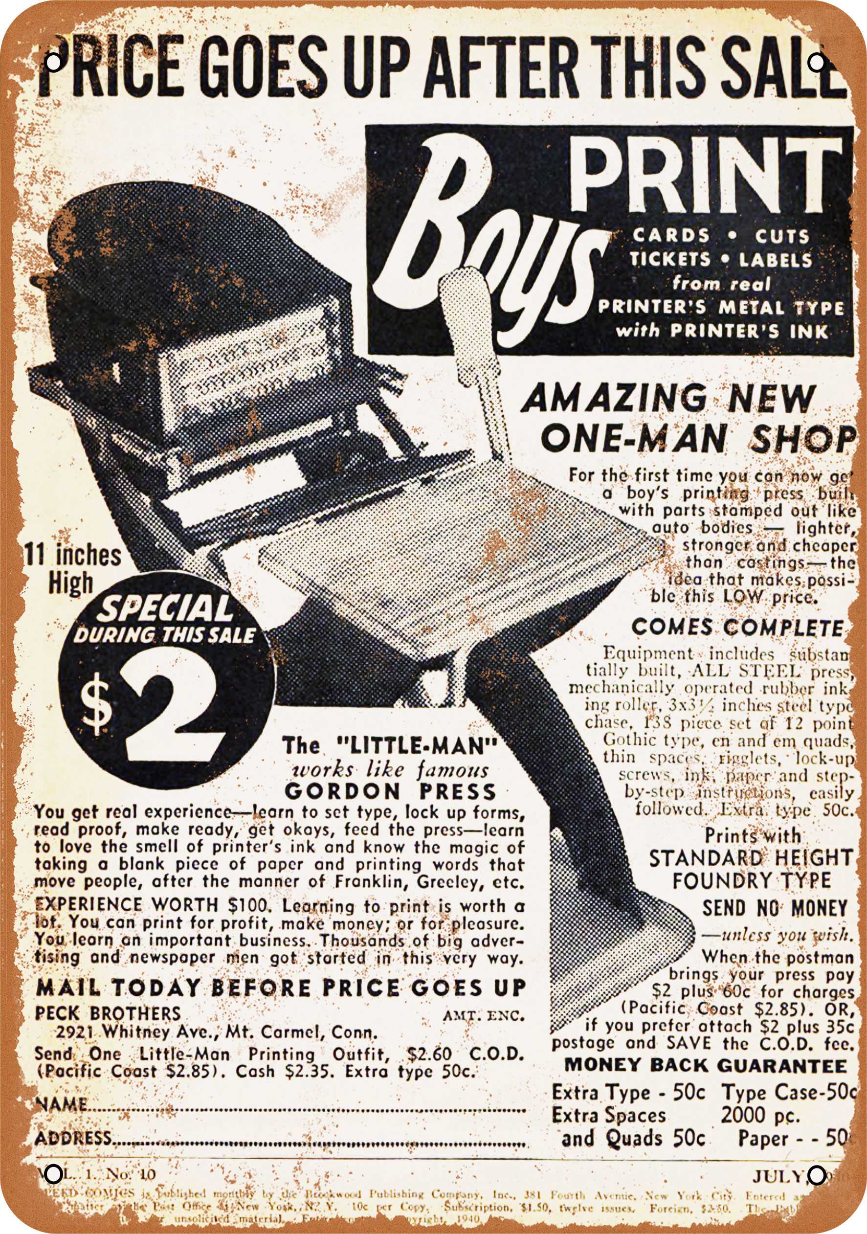 "7"" x 10"" 1940 Little Man Boy's Printing Press Vintage Look Reproduction Metal Sign 11176"