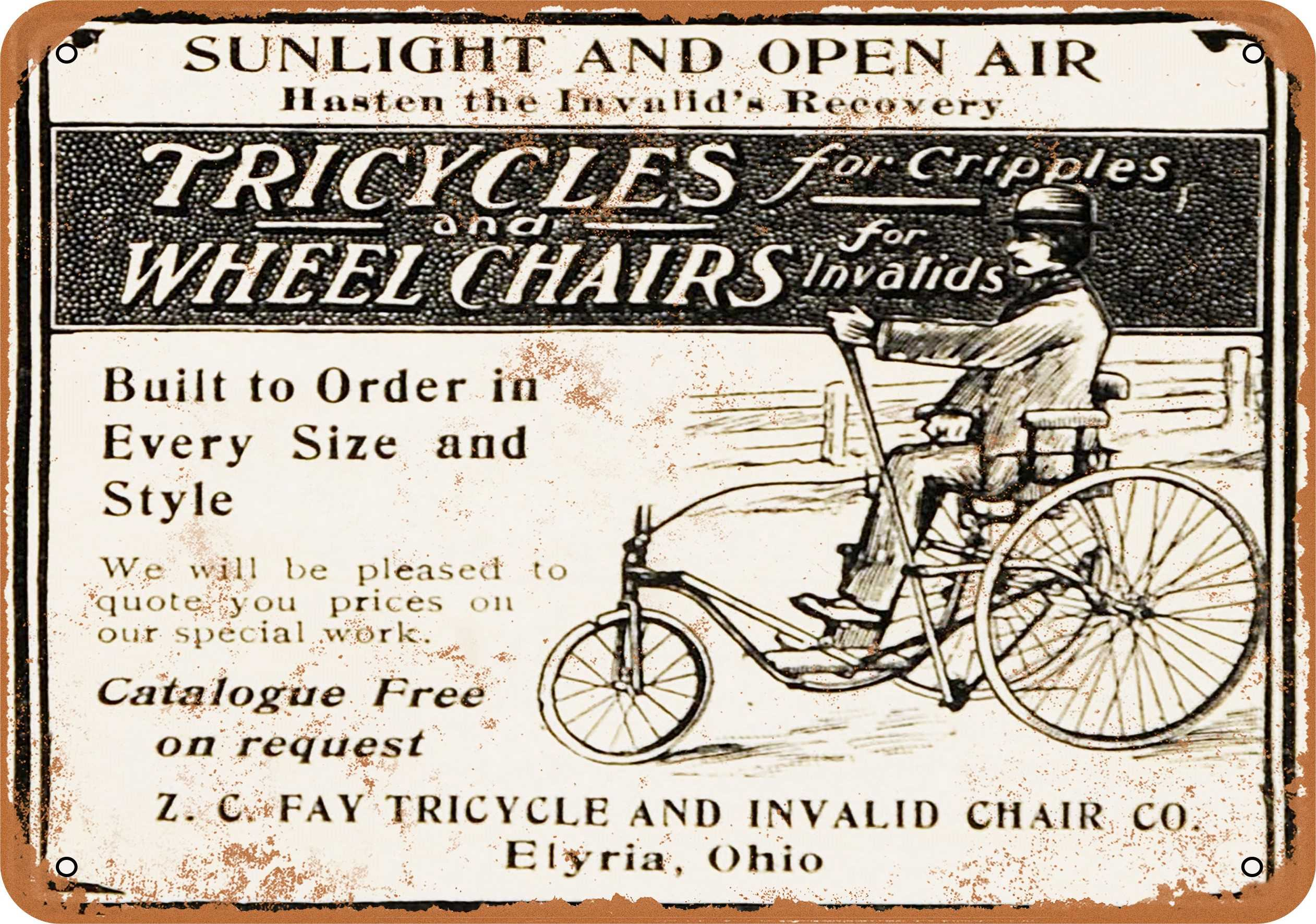 "9"" x 12"" 1902 Tricycles and Wheelchairs for Invalids Vintage Look Reproduction Metal Sign 30059L"