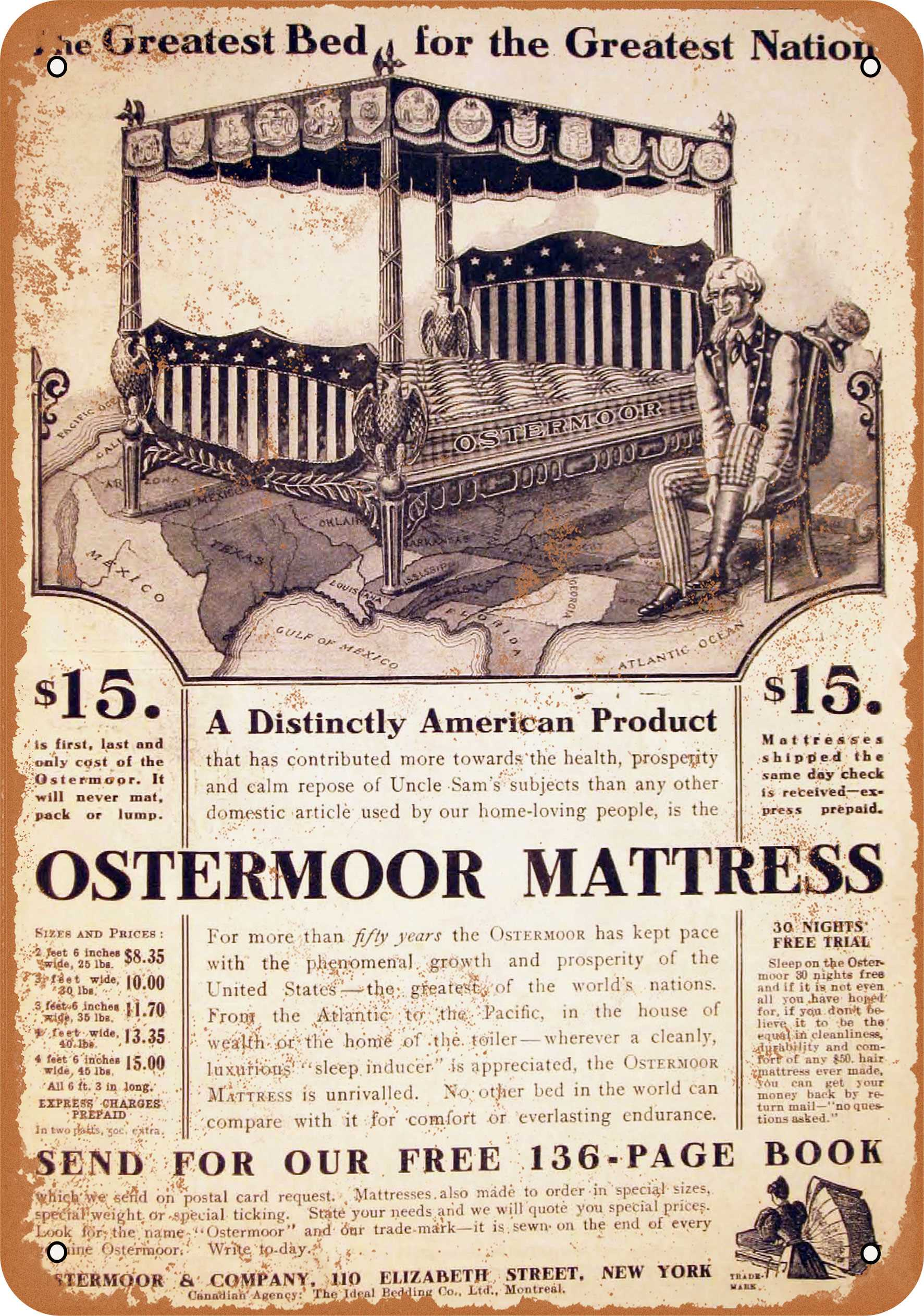 """9"""" x 12"""" 1905 Ostermoor Mattresses Vintage Look Reproduction Metal Sign 30688L"""
