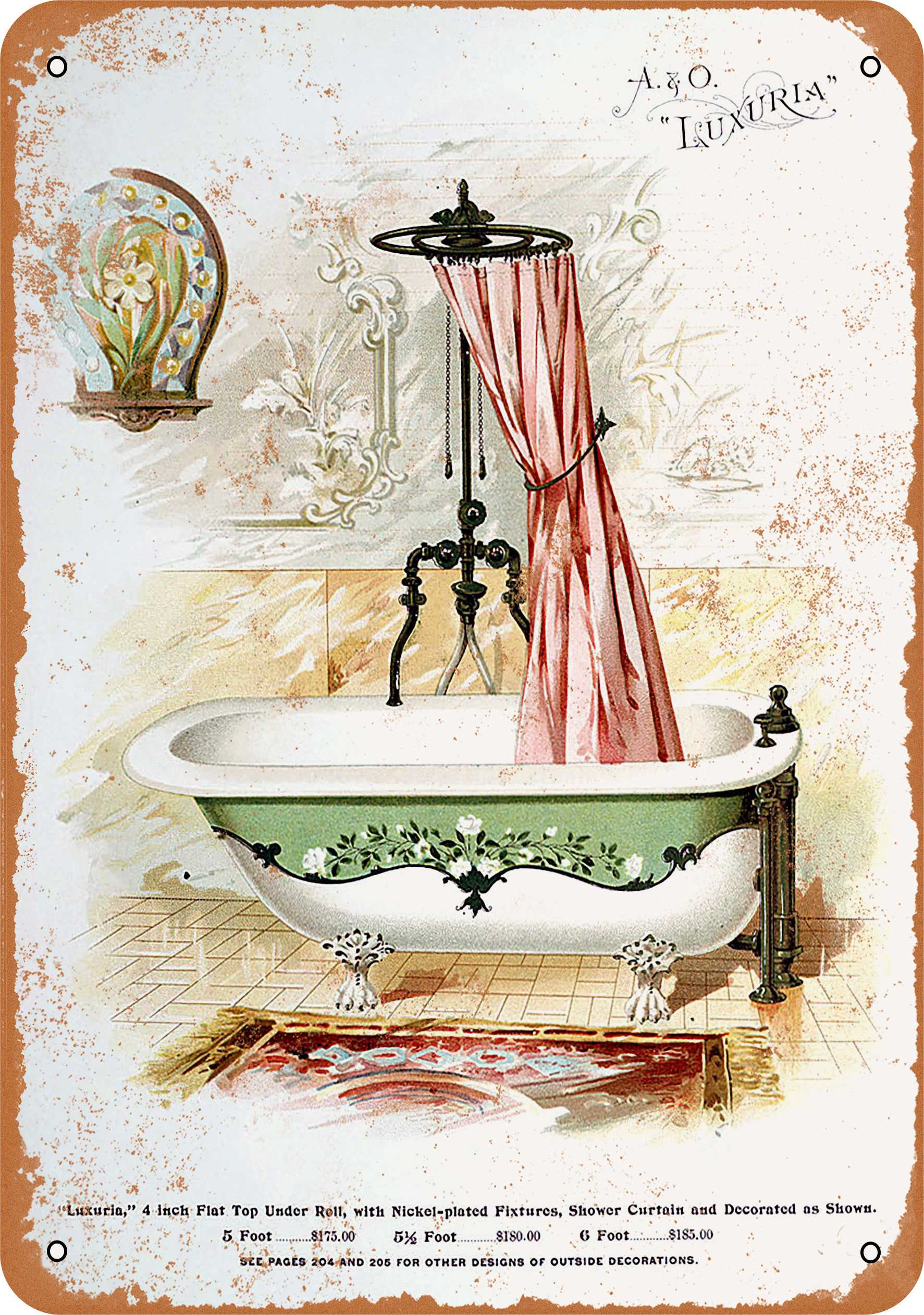 "9"" x 12"" 1896 A&O Luxuria Bathtub and Shower Vintage Look Reproduction Metal Sign 55058L"