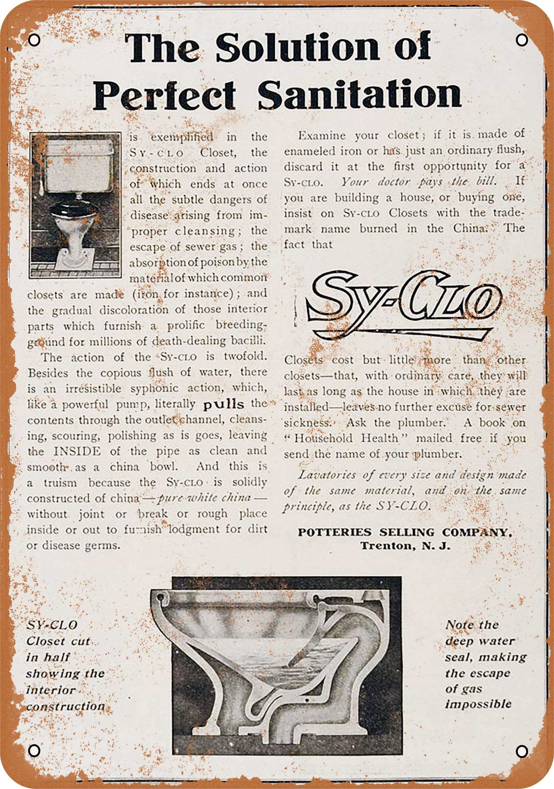 """9"""" x 12"""" 1906 Sy-Clo Sanitary Toilets Vintage Look Reproduction Metal Sign 55079L"""