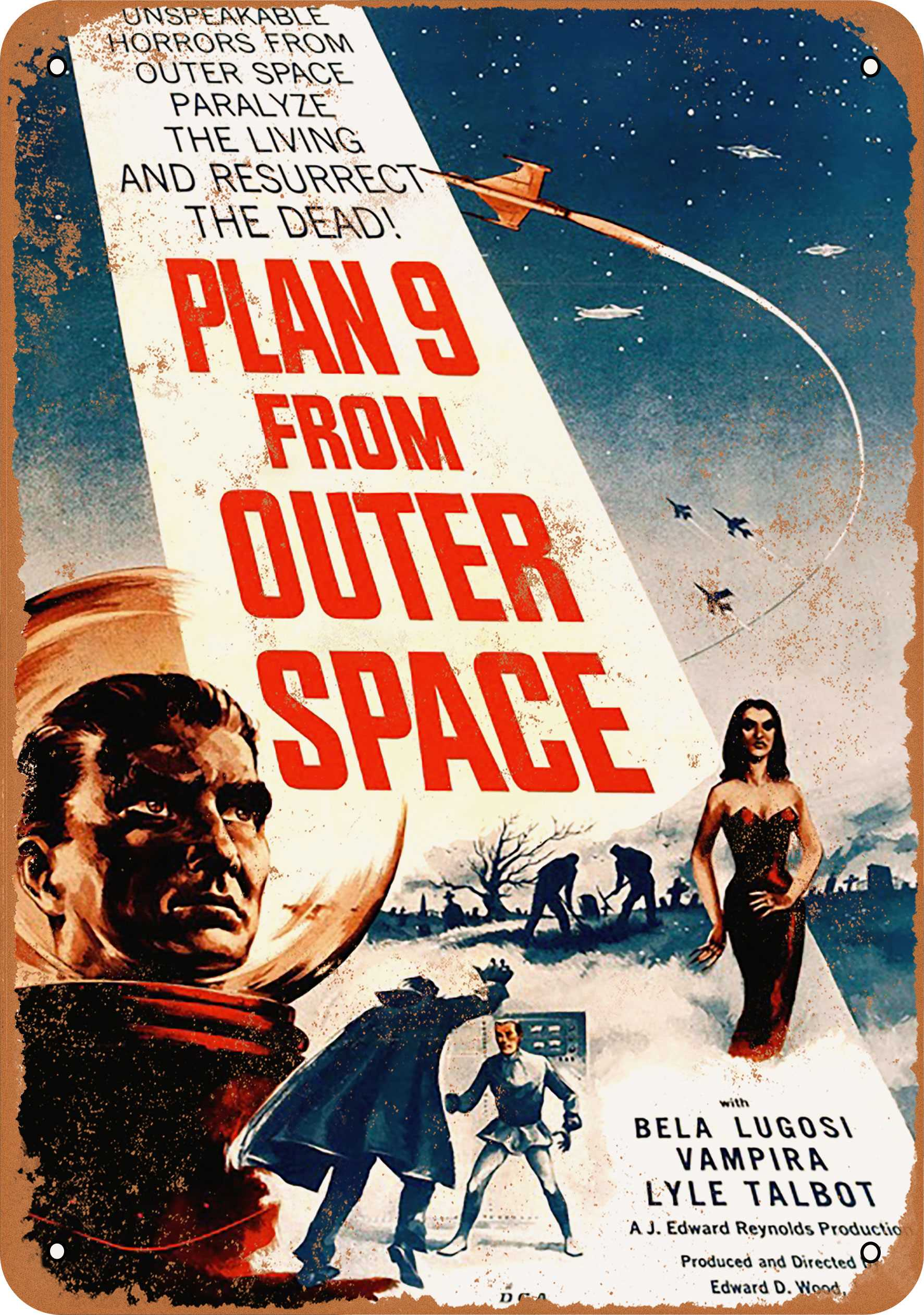 """7"""" x 10"""" 1959 Plan 9 From Outer Space Movie Vintage Look Reproduction Metal Sign 55920"""