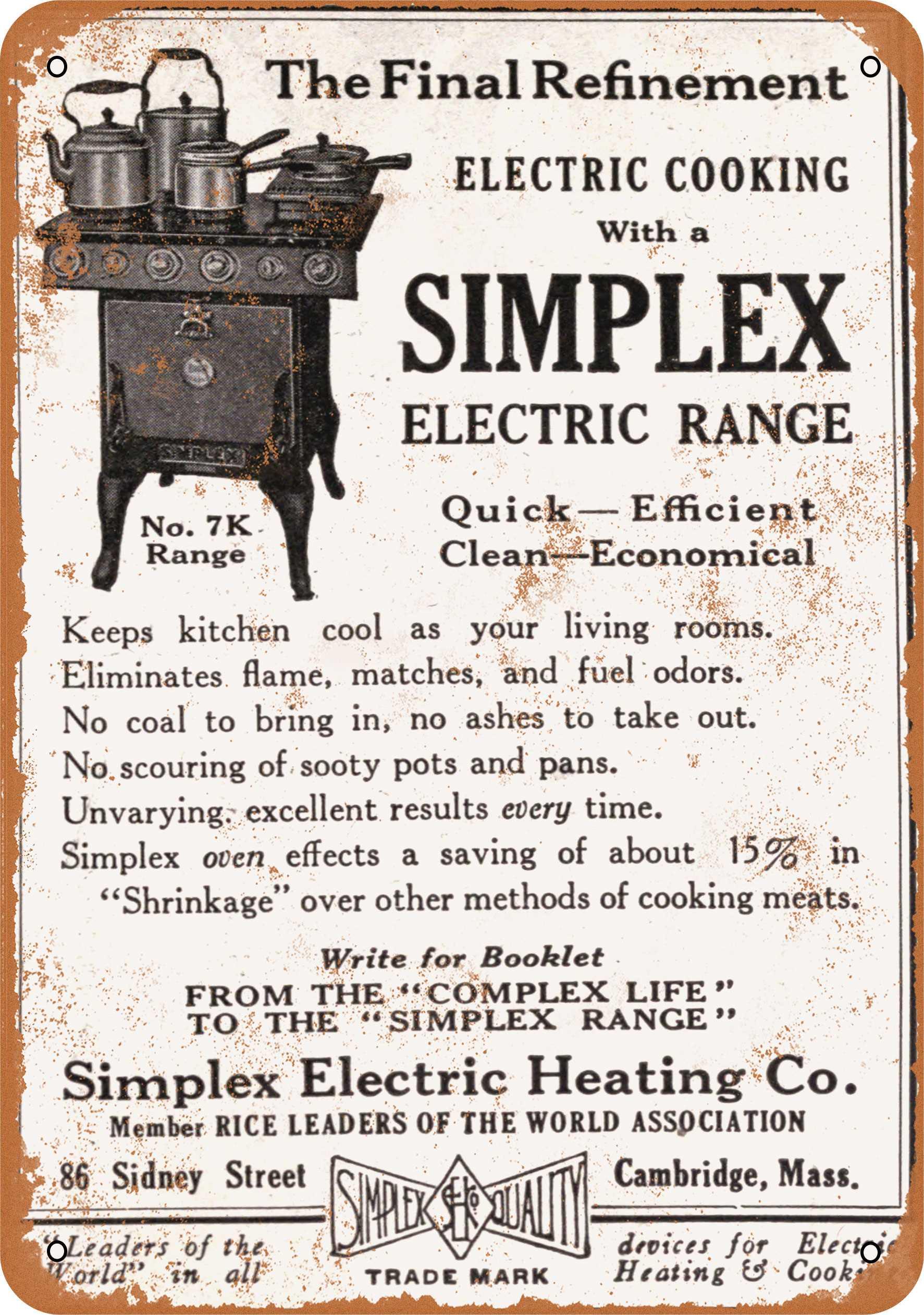 "7"" x 10"" 1915 Simplex Electric Range Vintage Look Reproduction Metal Sign 58081"