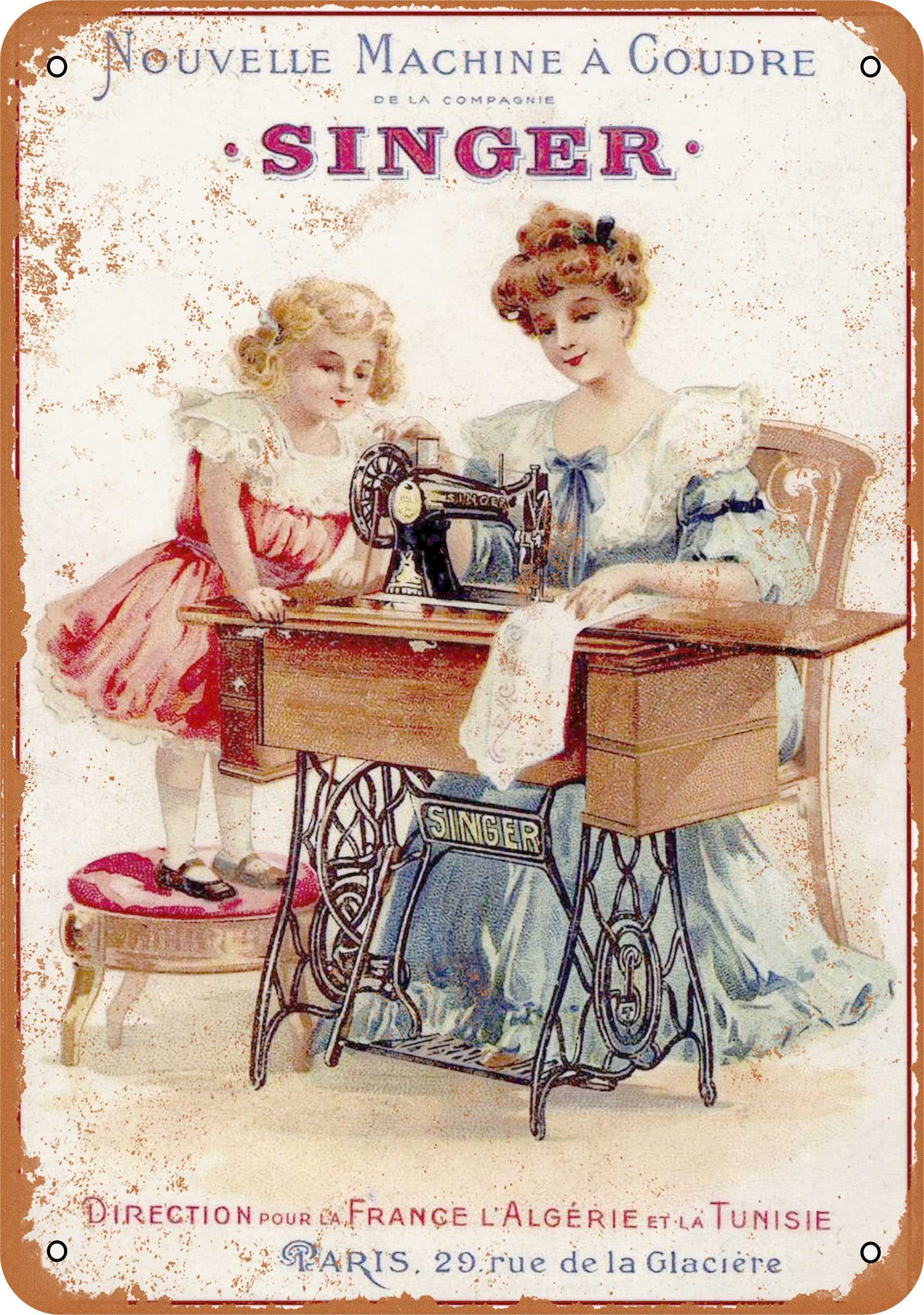 "9"" x 12"" 1889 French Singer Sewing Machines Vintage Look Reproduction Metal Sign 59320L"