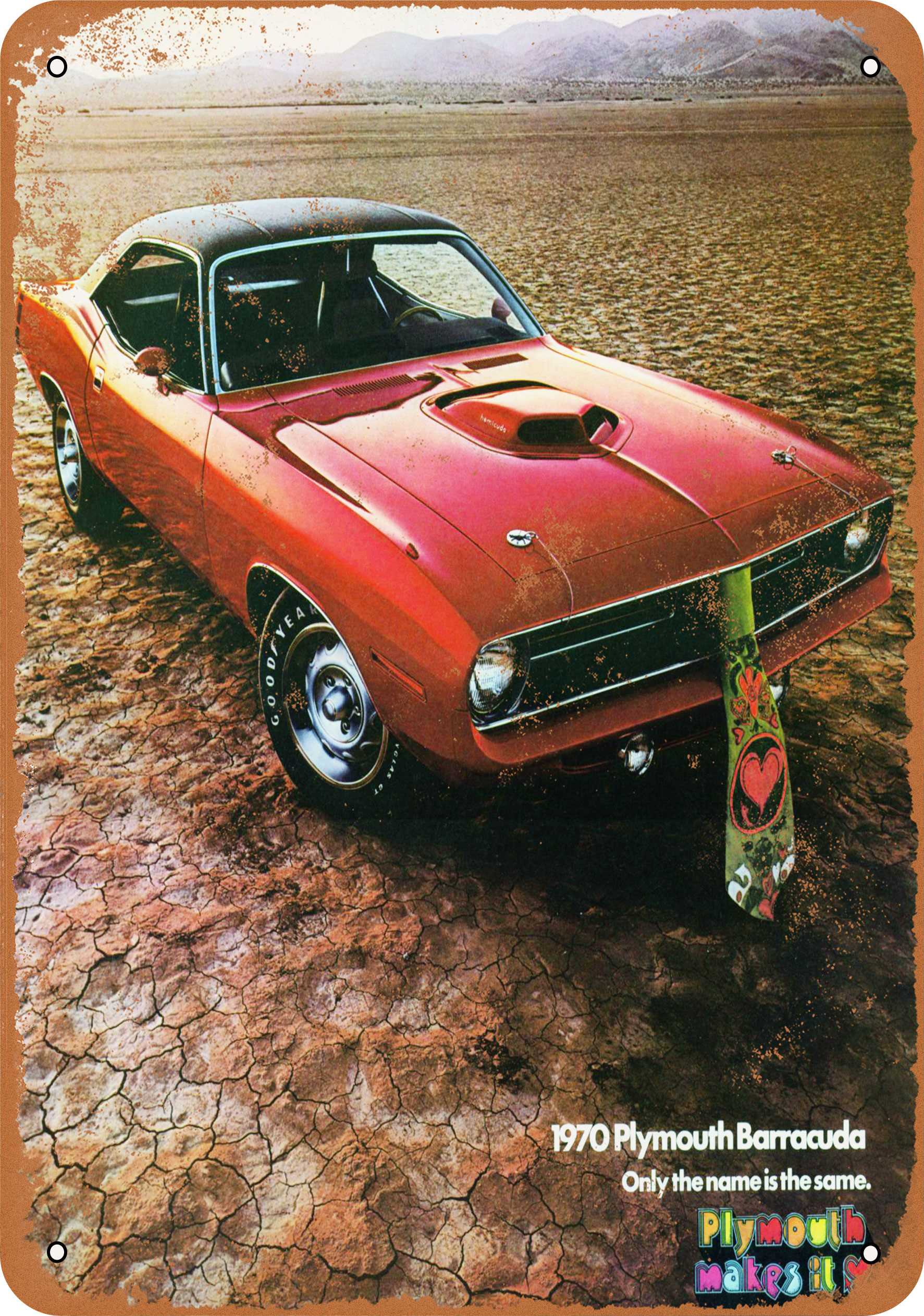 "7"" x 10"" 1970 Plymouth Barracuda Vintage Look Reproduction Metal Sign 7141"
