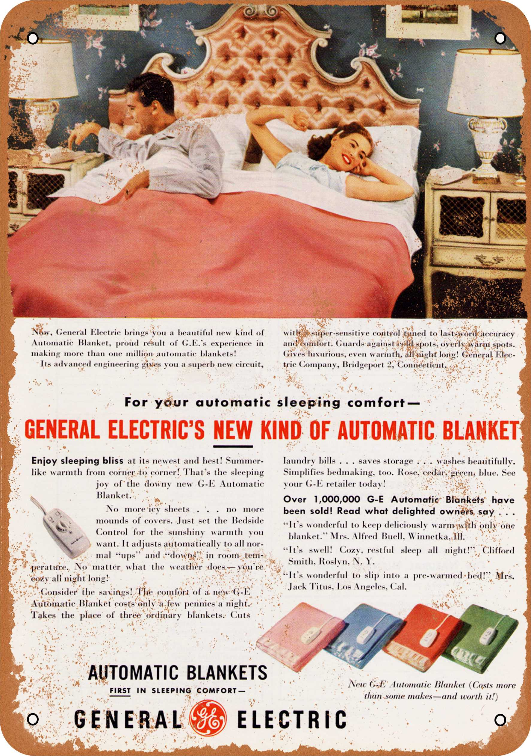 """9"""" x 12"""" 1950 General Electric Automatic Blankets Vintage Look Reproduction Metal Sign 8074L"""